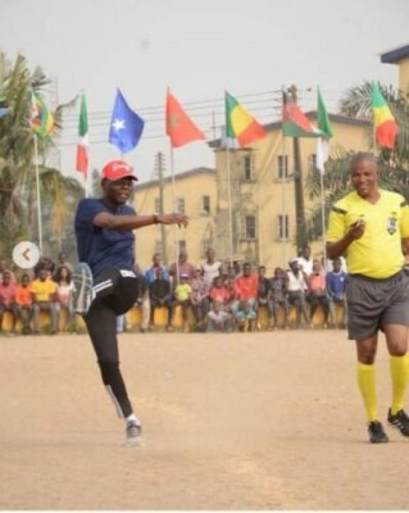 9593976_screenshot20190610101349_jpeg9a053ca689cde781da9b7f4713a8c6fe Lagos State Governor, Sanwo-Olu Pictured Playing Football On The Pitch