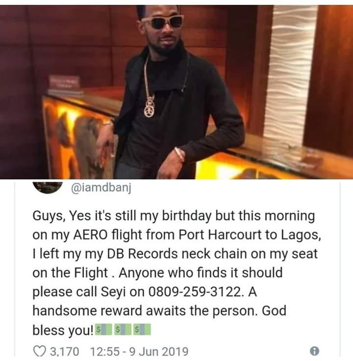 FB_IMG_1560162595447 Dbanj's Promises To Reward Anyone Who Finds His Missing Chain