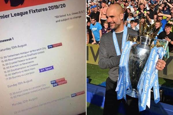 Premier League 2019-2020 Fixtures Leaked Online