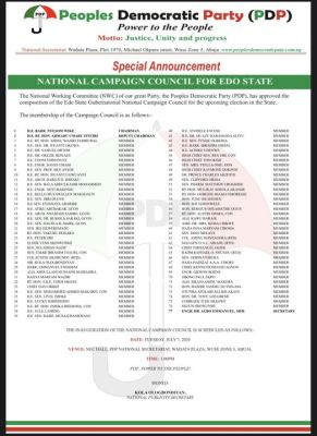 List Of PDP Edo State Gubernatorial Campaign Council