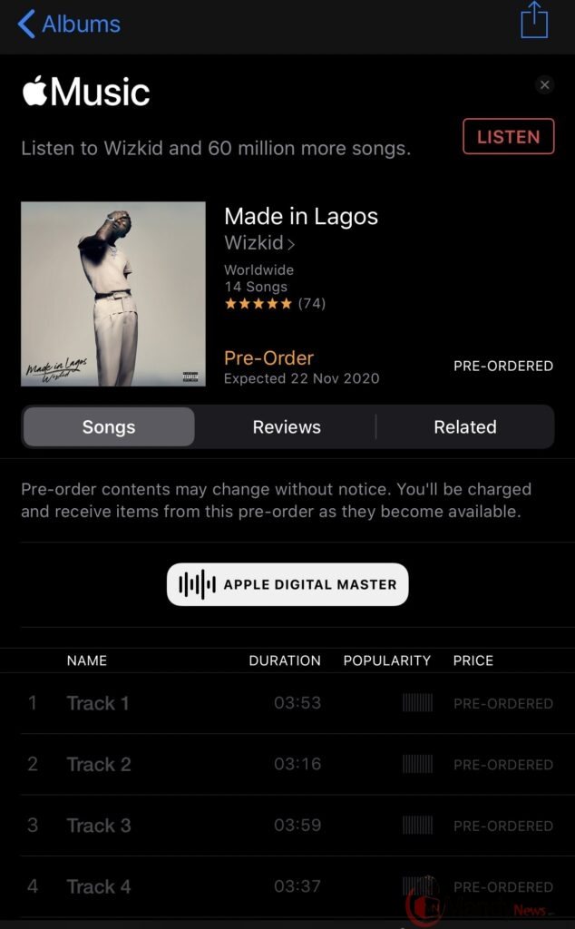 Wizkid 'Made In Lagos' Album Cover, Tracklist, Release Date
