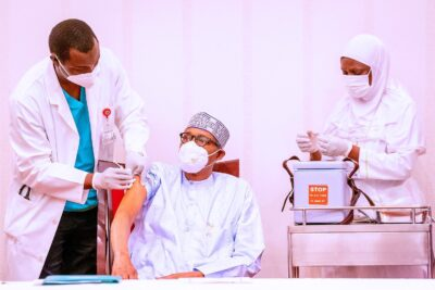 President Buhari Gets First Dose Of AstraZeneca COVID-19 vaccine