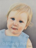 """""""Little Boy"""", colored pencil, 12x16, sanded paper, 2020 - in private collection"""