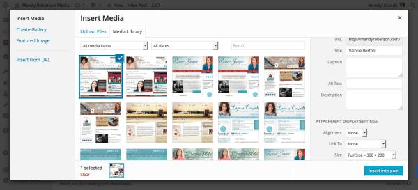 Insert Media Screenshot - WordPress