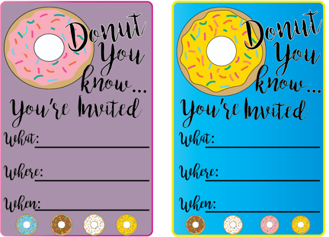 Donut-Invitation from donut printables at Mandy's Party Printables | mandyspartyprintables.com