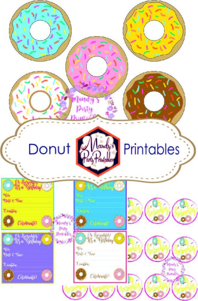 Donut Printables   Mandy's Party Printables