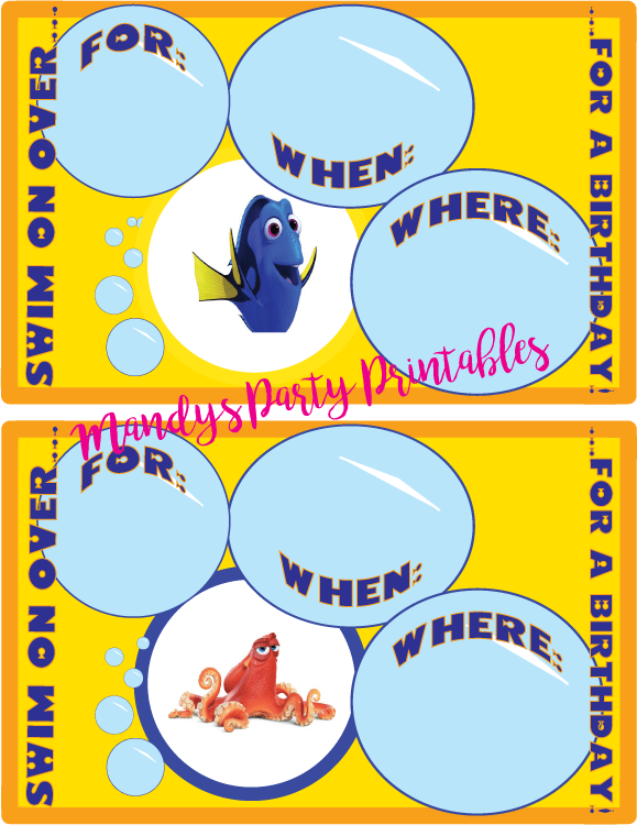 Free Finding Dory Party Printables Birthday Invitation from Mandy's Party Printables