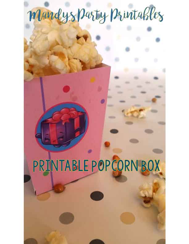 Free Printable Shopkins Popcorn Box from mandyspartyprintables | Mandy's Party Printables