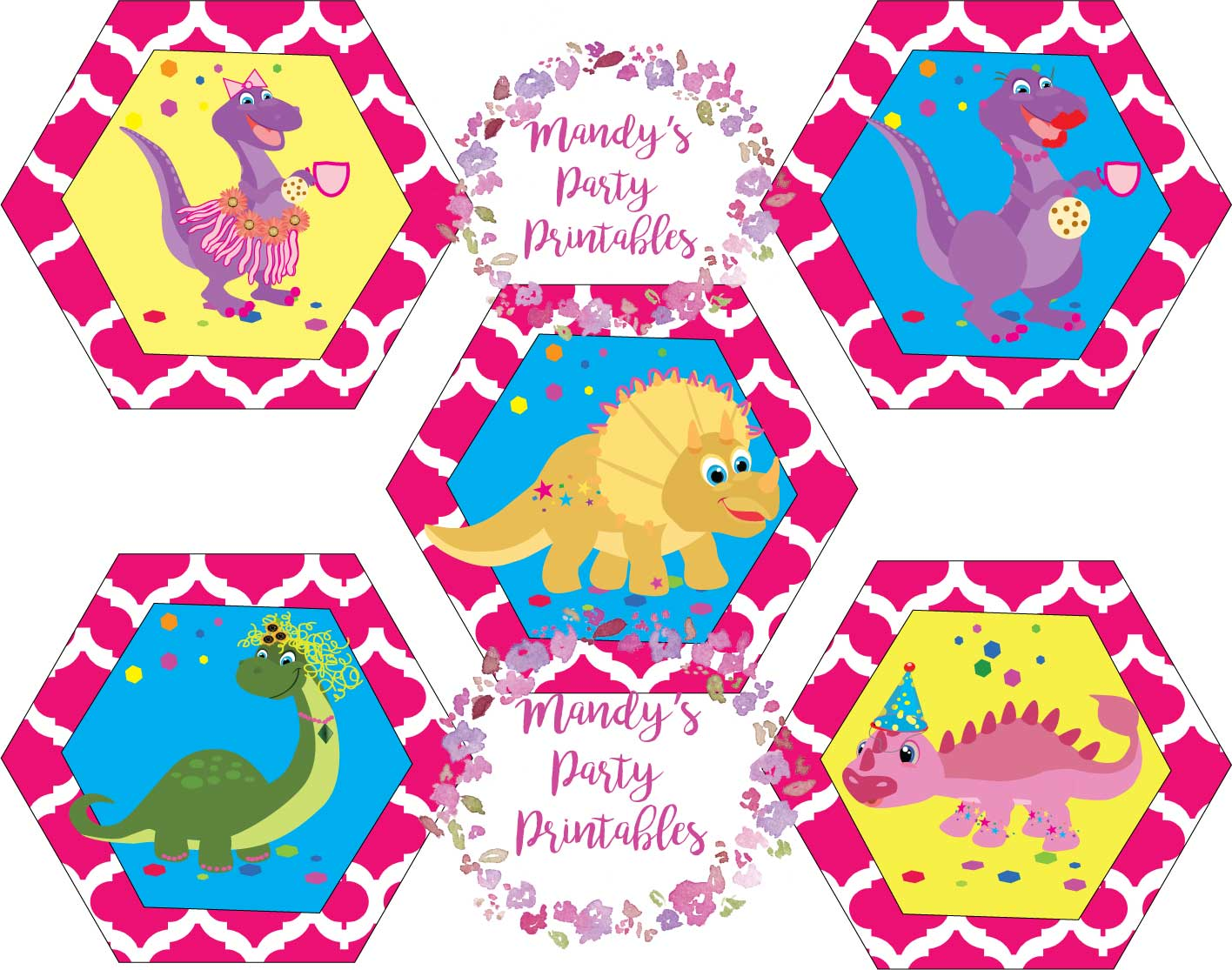 Girly Dinosaur Cupcake Toppers Mandy S Party Printables