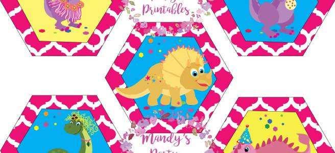 Girly Dinosaur Cupcake Topper from Tea Rex T-Party at Mandy's Party Printables