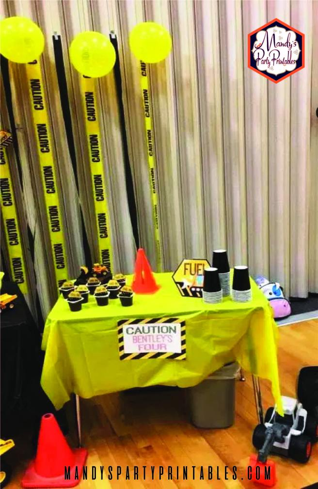 "Table with ""Fuel"" sign and Caution Sign 