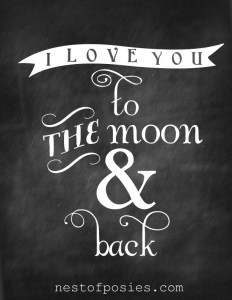 Love You to the Moon & Back Valentine Printable Signs via Mandy's Party Printables