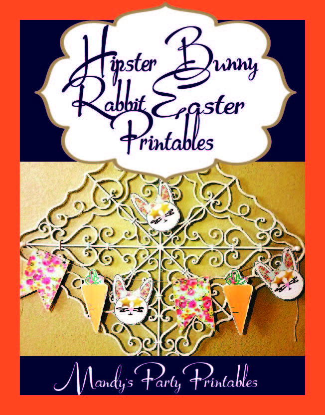Hipster Bunny Rabbit Easter Printable Banner via Mandy's Party Printables