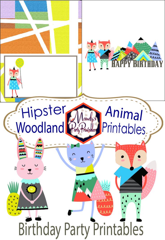 Cool Hipster Woodland Animal Birthday Printables Funny Birthday Cards Online Chimdamsfinfo