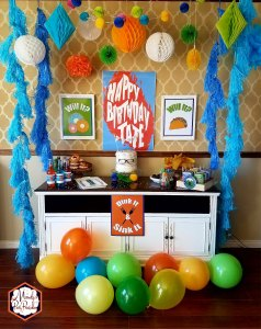 Partyscape with Balloons from Good Mythical Morning Inspired Birthday Party via Mandy's Party Printables