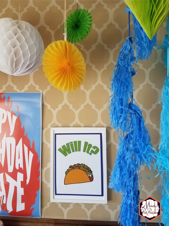 Will It Taco sign from Good Mythical Morning Inspired Birthday Party via Mandy's Party Printables