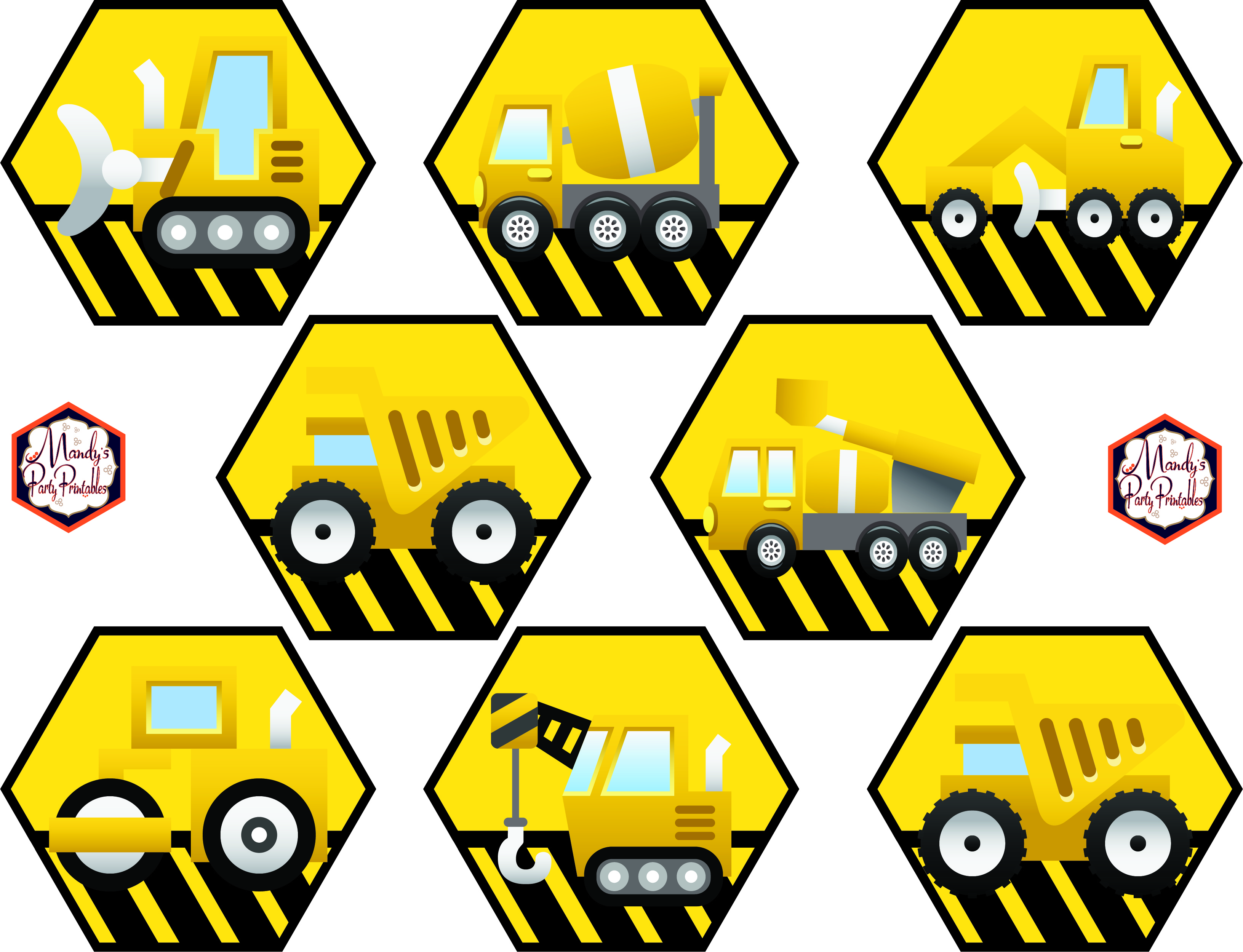It is a graphic of Dramatic Construction Party Printables