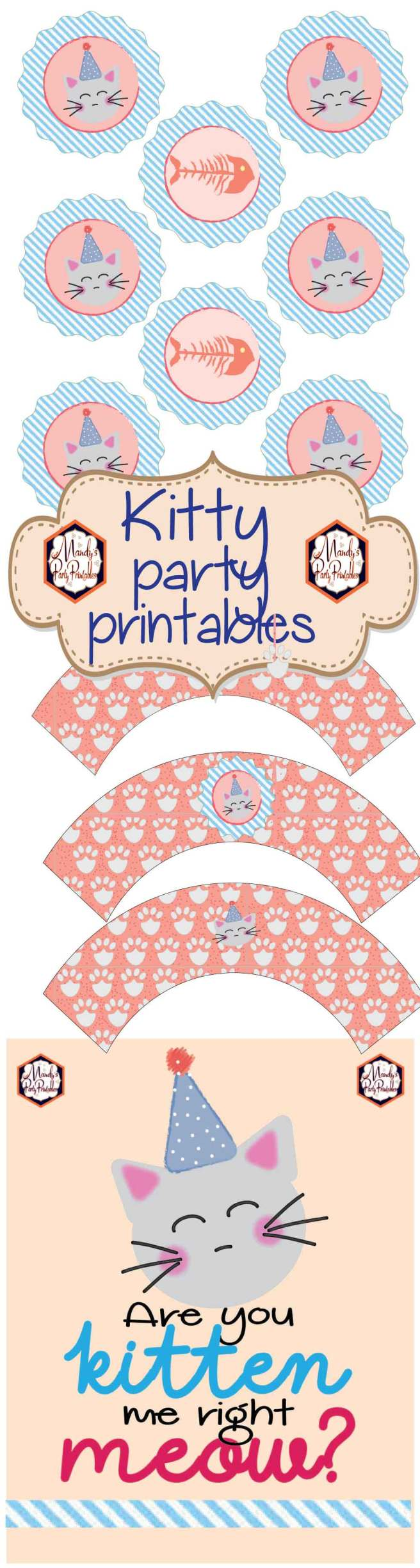 Free Kitten Birthday Party Printables via Mandy's Party Printables