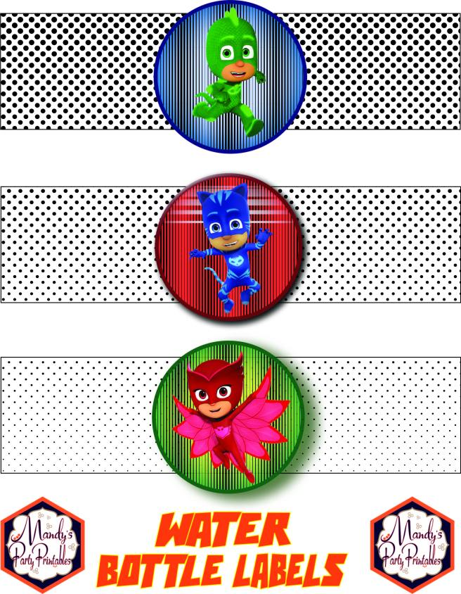 Water bottle labels from Free PJ Masks Birthday Party Printables via Mandy's Party Printables