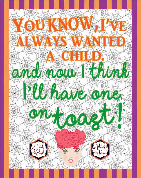 Free Hocus Pocus Party Printables via Mandy's Party Printables