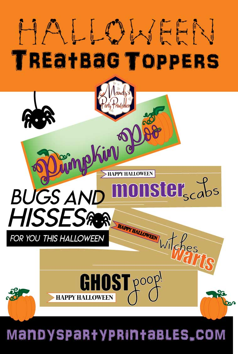 photo regarding Bugs and Kisses Free Printable known as Free of charge Halloween Treatbag Toppers
