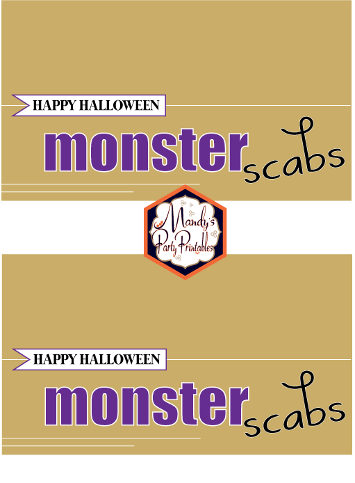 Monster Scabs Halloween Treatbag Toppers via Mandy's Party Printables