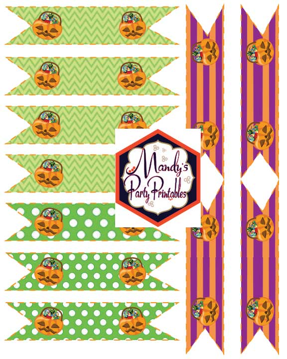 Straw Flags from Halloween Costume Party Printables via Mandy's Party Printables