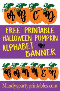 Free Pumpkin Alphabet Banner for customized Halloween banners via Mandy's Party Pritnables