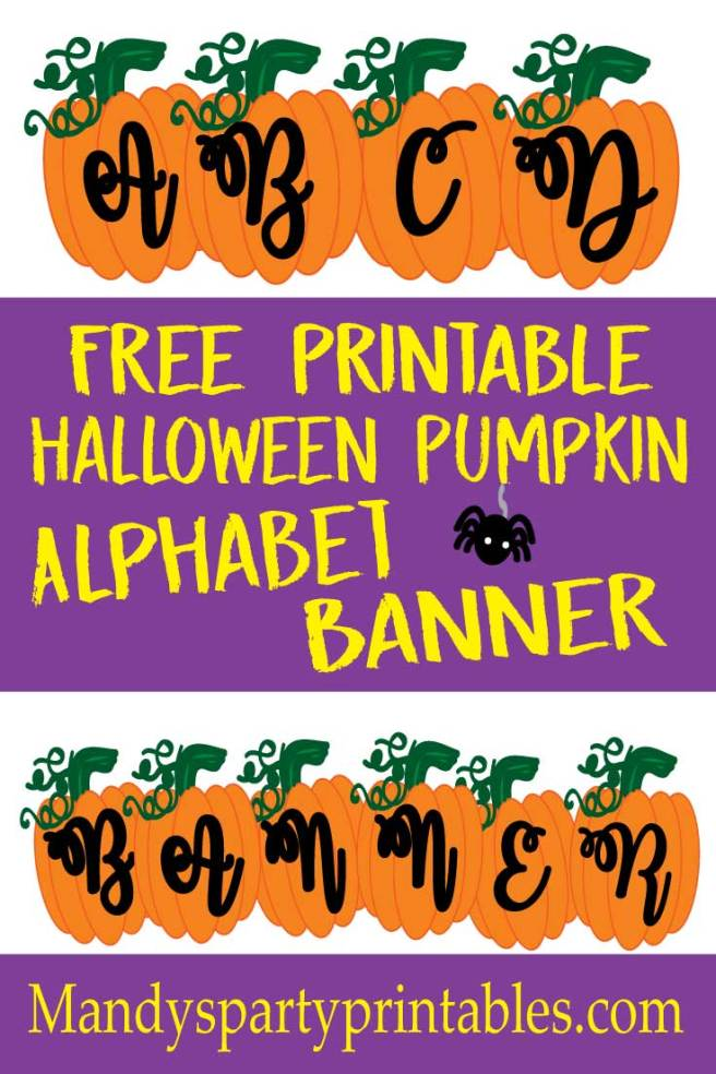 Free Printable Pumpkin Alphabet Banner for customized Halloween banners via Mandy's Party Pritnables