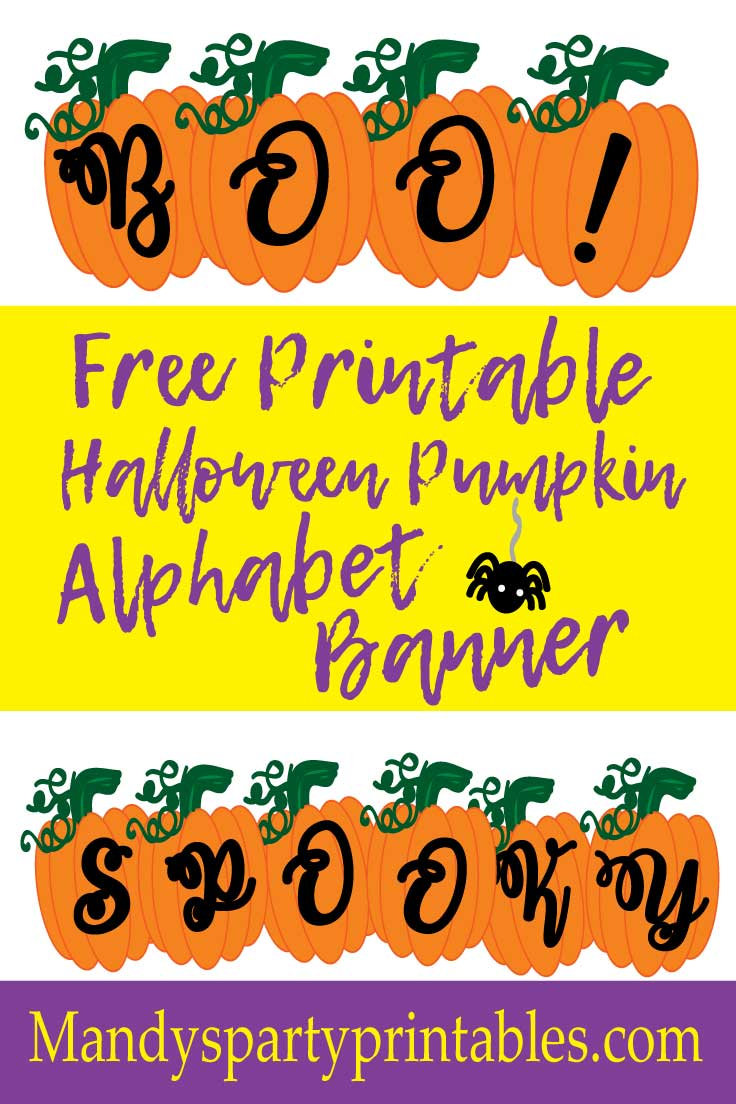 graphic relating to Free Printable Halloween identified as Absolutely free Printable Pumpkin Banner