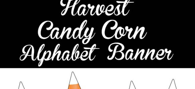 Harvest Candy Corn Thanksgiving Alphabet Banner via Mandy's Party Printables