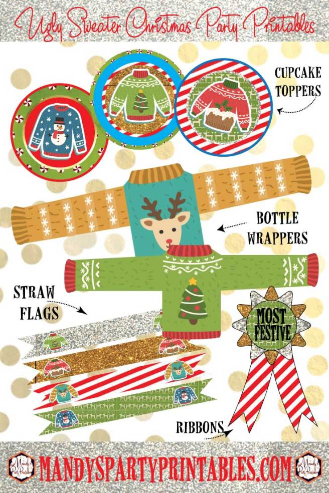 Ugly Sweater Christmas Party Printables via Mandy's Party Printables