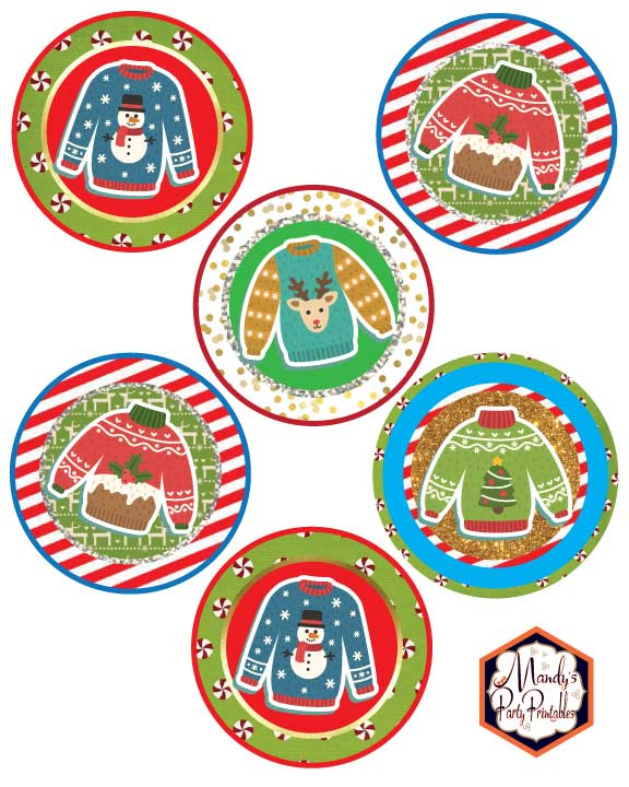 Cupcake Toppers from Ugly Sweater Christmas Party Printables via Mandy's Party Printables