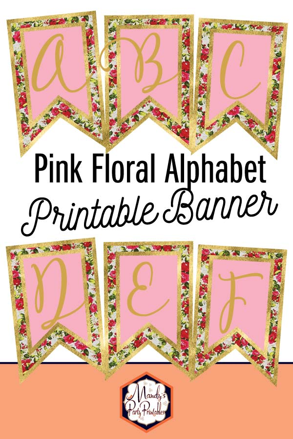 photograph about Printable Alphabet Banner identified as Cost-free Red Floral Alphabet Banner
