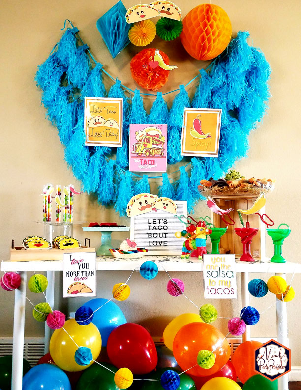 Valentine Fiesta: Taco 'Bout Love | Kara's Party Ideas | Party Table with Printable Taco Signs, Pepper Cups, Taco Sugar Cookies
