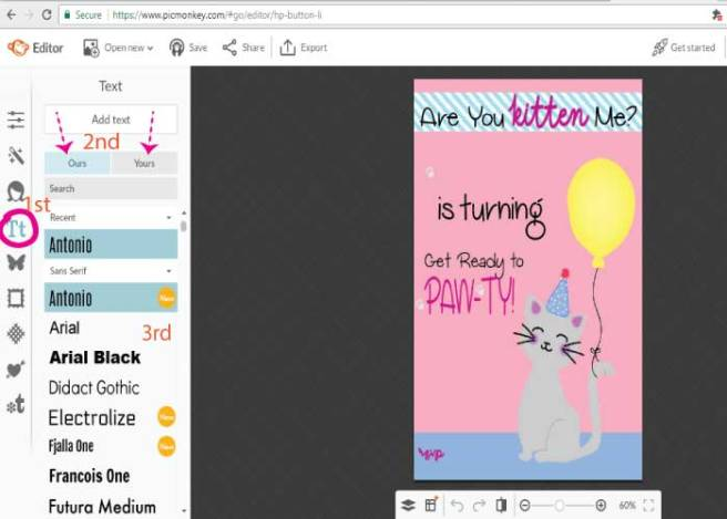 Screenshot from PicMonkey tutorial detailing how to choose text | Mandys Party Printables