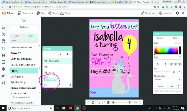PicMonkey Tutorial showing the flatten image option | Mandy's Party Printables