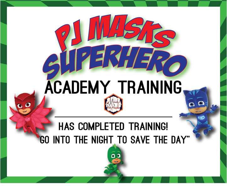Pj Masks Training Certificate And Straw Tags
