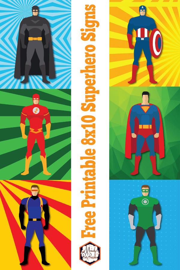 Free Printable Superhero 8x10 Signs Collage