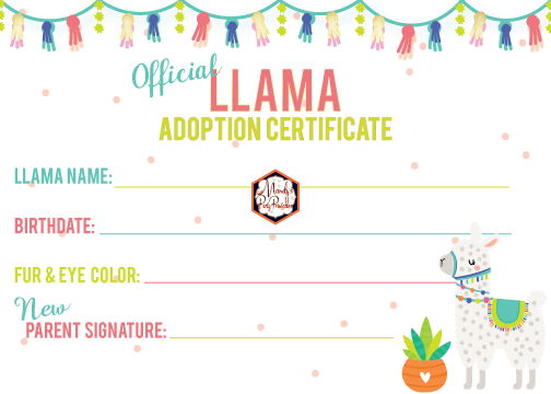 photo regarding Free Printable Adoption Certificate referred to as Cost-free Llama Adoption Bash Printables