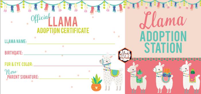 photo relating to Free Printable Adoption Certificate identified as Free of charge Llama Adoption Bash Printables