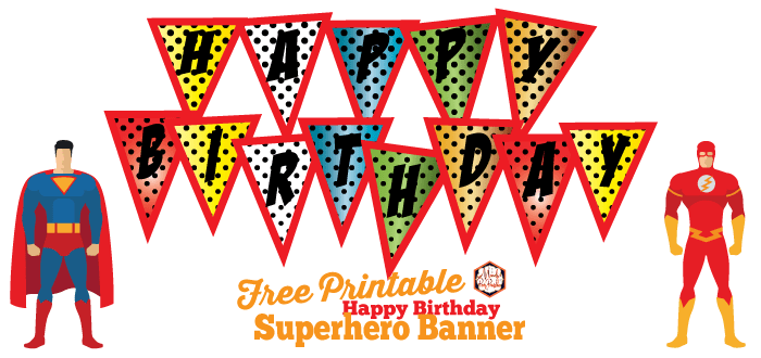 free superhero happy birthday banner