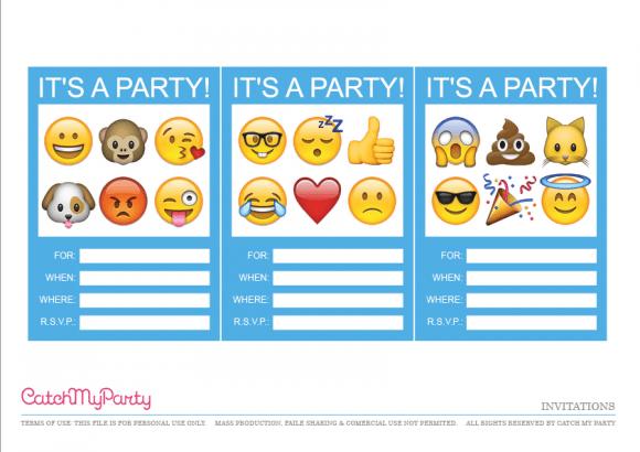Printable Emoji Party Invitations