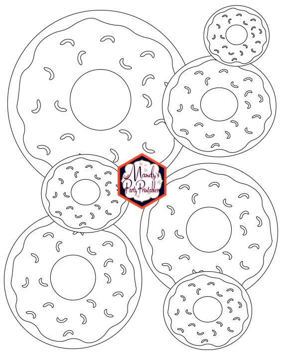 Donut Coloring Pages and Party Sign |