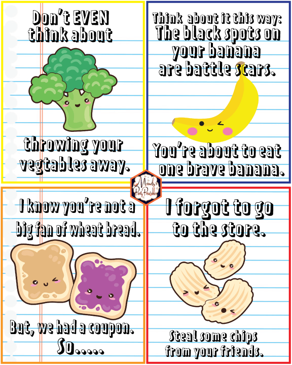 free printable snarky lunchbox notes mandys party printables