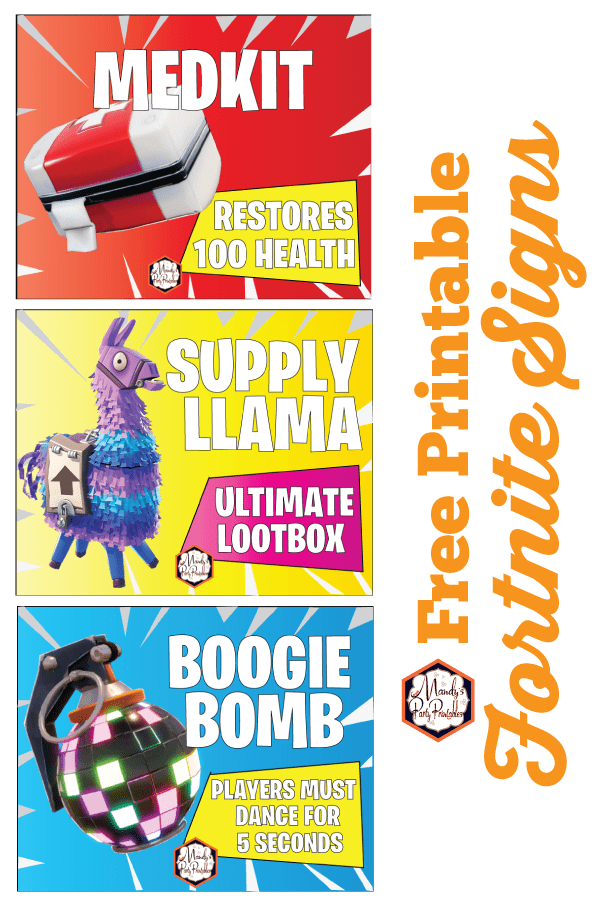 Free Printable Fortnite Party Signs