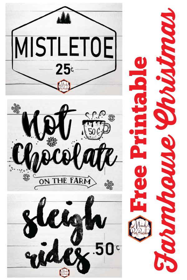 Free Printable Farmhouse Christmas Signs Mandy S Party Printables
