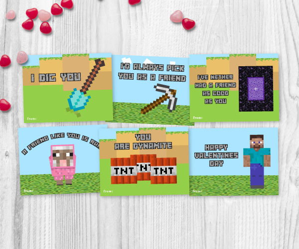 graphic about Minecraft Valentine Box Printable named No cost Printable Gaming Valentine Playing cards