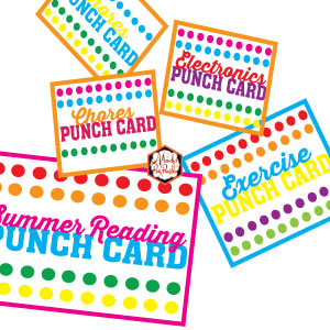 image regarding Printable Punch Cards titled No cost Printable Summer season Punch Playing cards