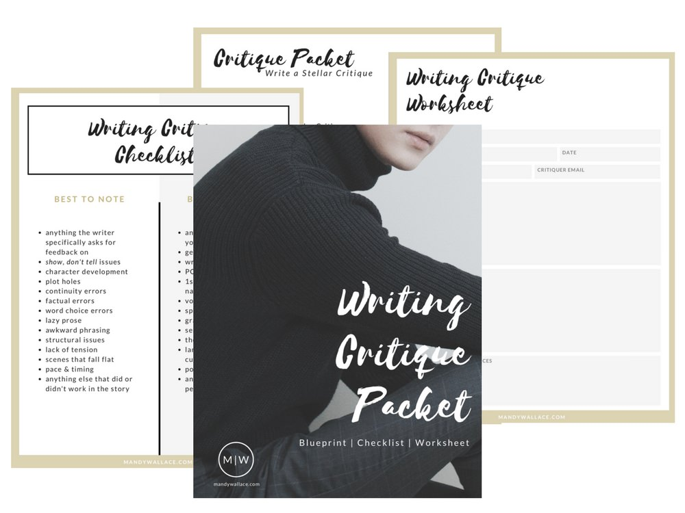 Download your free Writing Critique Packet with Blueprint, Checklist, and Worksheet